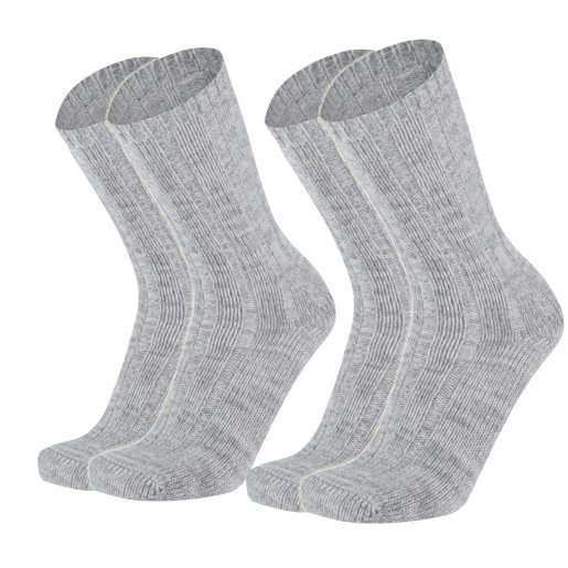 Heavy knit sock 2pk grey melange