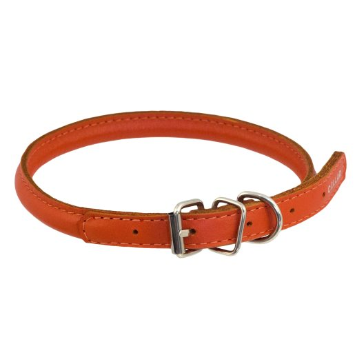 Collar leather orange 20-25 halsband