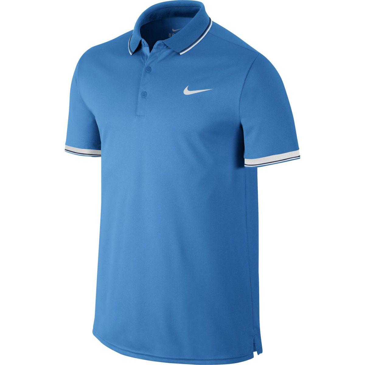 100% authentic cfbcc 19514 blå nike court polo tenniströja herr pikéer